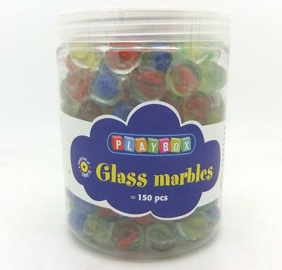 PBX2471163_D - Playbox - Glass Marbles - Mixe d Cols, 16 mm (1 Kg) (Dam-Box)