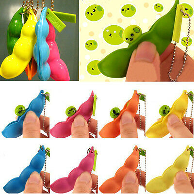 Cute Edamame Keyring Pop Up Bean Pea Soybean Stress Relieve Keychain Gifts NEW