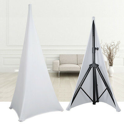 2X Spandex Speaker Stands Scrim White DJ Tripod Lycra Stretch Cover Double Sided