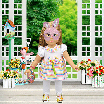 A Set of Doll Clothes Dress for 18 Doll Rainbow Dress+ Pant