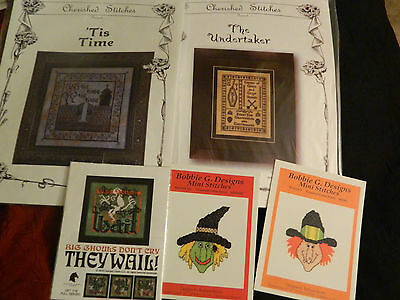 Lot Of 5 Halloween Themed Cross Stitch Patterns #3