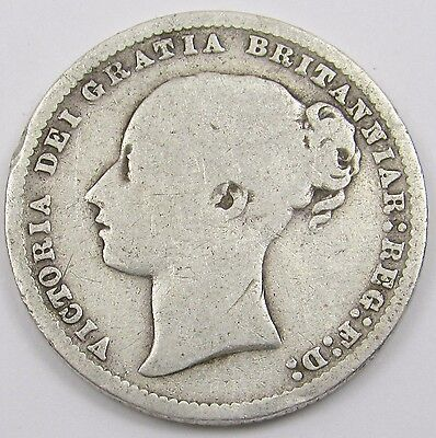 QUEEN VICTORIA YOUNG HEAD SILVER ONE SHILLING COIN dated 1877