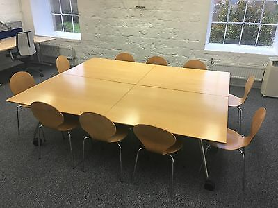 Wiesner Hager Folding Light Oak Office Meeting / Conference Table x2 + 10 Chairs
