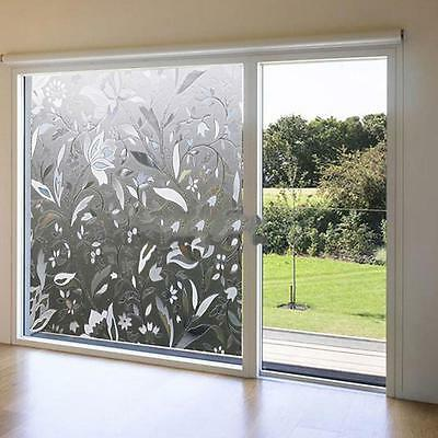 45x100cm Recyclable Glass Frosted Home Window Film 3D Flower Sticker Decorative/