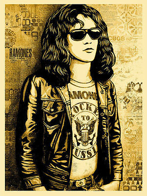 Shepard Fairey (OBEY GIANT) -Tommy Ramone (GOLD), Signed/Numbered-MINT-sold out