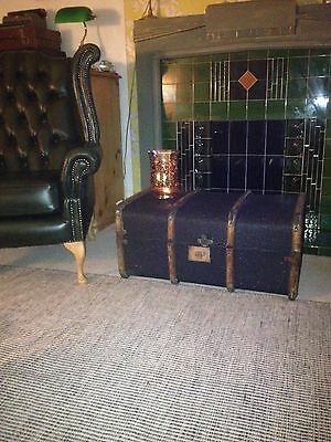 Vintage Decoupage Steamer Travel Trunk/ Coffee Table/ Ottoman Storage Chest