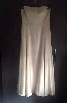 Full Length Strapless Shimmery Gold Ball Gown, size 16