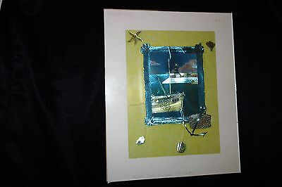 HANDCRAFTED BEACH/SAILING/ANCHOR FOIL ART/ARTWORK w PROTECTIVE GLASS & BACKING