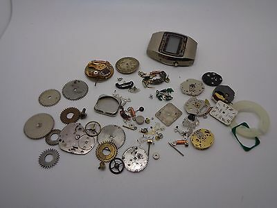 Vintage Job Lot Watch Parts Craft Spare Or Repair