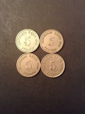 Set Of Four Germany Five Pfennig Collectable Coins (2)