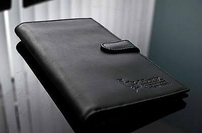 Black LEATHER TRAVEL WALLET Document organiser passport holder