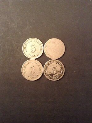Set Of Four Germany Five Pfennig Collectable Coins (1)