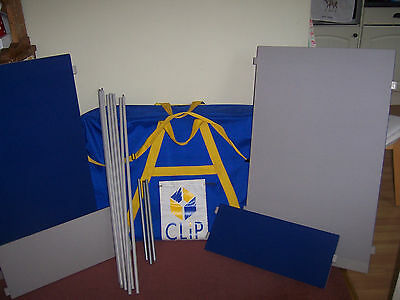 Clip Display Exhibition Stand [8 Panel & Pole System] Full Kit & Carry Case