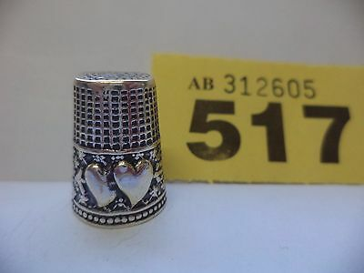 Vintage Italian .800 Solid Silver Thimble with Love Heart & Arrow Decoration