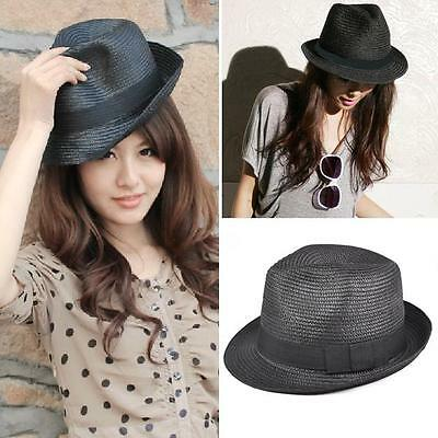 Straw Hat Fedora - Panama Trilby Style Packable Crushable Summer Sun Mens Ladies