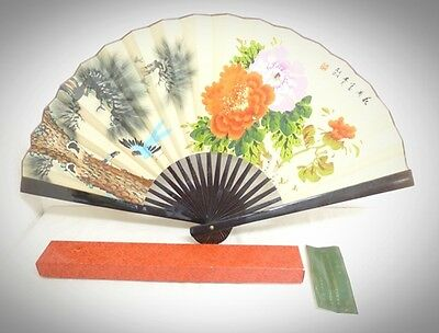 Antique Large Chinese Hand Painted  Folding Fan Flower and bird pattern W/Box