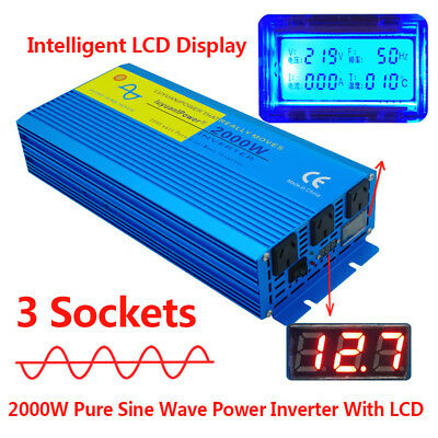 2000w pure sine wave inverter 12v to 240v car caravan boat camping with LCD LED