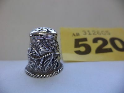 Vintage Solid Sterling Silver Thimble with Leaves & Berries