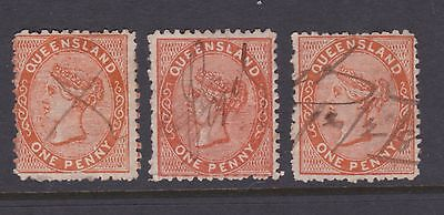QUEENSLAND 1879-81 1d  Reddish Brown QV FIRST SIDEFACE X3 SHADES USED  (CM54D)