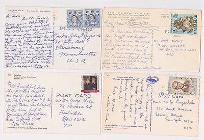 Caribbean Posted Pictured Postcard Lot - 11 Items