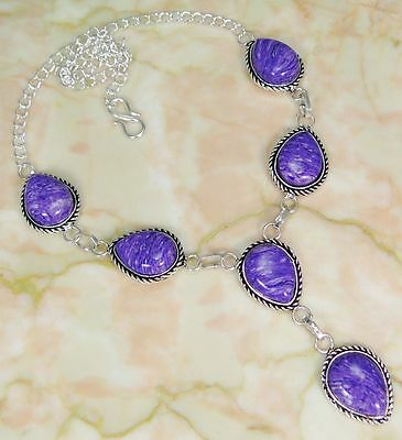 """Lab Charoite & 925 Silver Handmade Beautiful Necklace 18"""" OM1-10771"""
