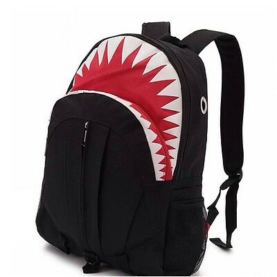 Black 3D Backpack Rucksack Kids Shark Teeth Outdoor Travel Satchel School Bag