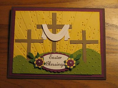 Card Kit: Easter Cross Trio Jesus Blessings Grass Stampin Up Handmade card