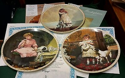 """3 x Royal Doulton """"A Victorian Childhood"""" Collectors Plates. With Certificates."""