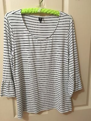 Rockmans Size M Black And White Striped 3/4 Flared Sleeve Top