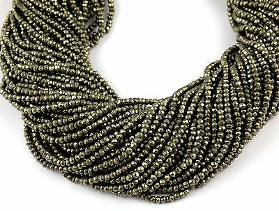 """5 Strand Natural Pyrite Gemstone Faceted Rondelle Beads Bead 2.5-3mm 13"""" Long"""
