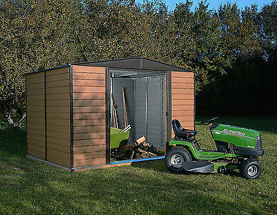 10x6 Wood Effect Metal Shed