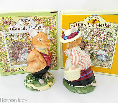 Royal Doulton Brambly Hedge Figures DBH4 & DBH5 Lord and Lady Woodmouse Figurine