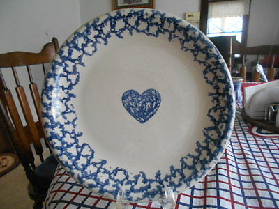 """Hearts Collector Dinner Plate (s) 10"""" Tienshan Folkcraft Stoneware White Blue !"""