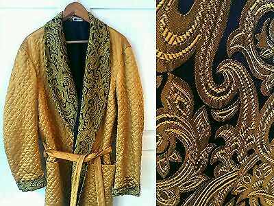 Vintage 1970s Marquis Gold Quilted Smoking Jacket Dressing Gown Medium