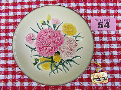 Bossons Vintage Carnations Round Wall Plaque Original Box & Initialed (Ref 54)