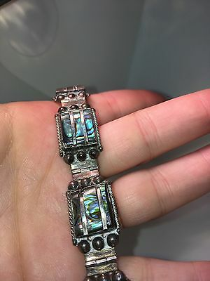 Mexican Sterling Silver & Abalone Bracelet 925