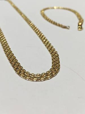 9Ct Yellow Gold Popular Set Necklace And Bracelet Matching Fancy Au0021