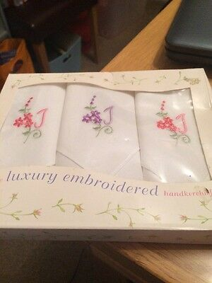 Vintage Box Ladies Embroidered Handkerchiefs With J On