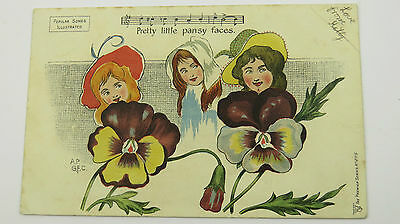 1906 Postcard Edwardian Song Pansy Faces William H Penn Mother Goose Pantomime