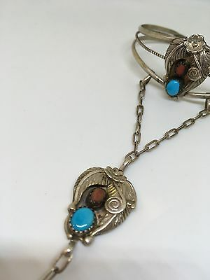 Navajo Vintage Old Sterling Silver Slave Bangle/ring Coral & Turquoise