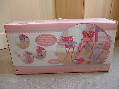 Baby Doll Nursery Playset Cot Pram & Highchair Kids Toy New In Box
