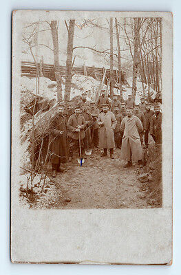 Antique WW1 GERMAN Real Photo RPPC Postcard SOLDIERS Digging TRENCH BUNKER