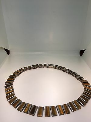Amazing Signed TILO Mexican Sterling Silver & Tigers Eye Modernist Necklace