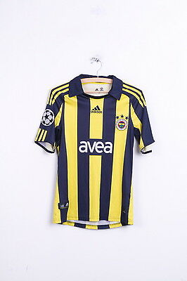 Adidas Fenerbahce Spor Kulub Mens XS Polo Shirt Striped Blue Sport Turkish Club