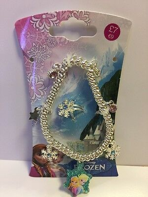 New Disney Frozen Girl's Stretch Charm Bracelet & Ring Set - Party Bag Filler