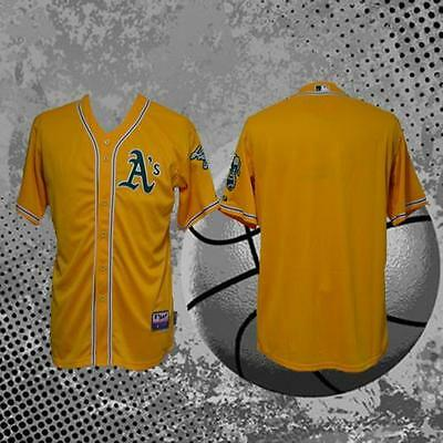 A's Oakland Athletics Team Cool Base Gold Blank Baseball Jersey All Sizes