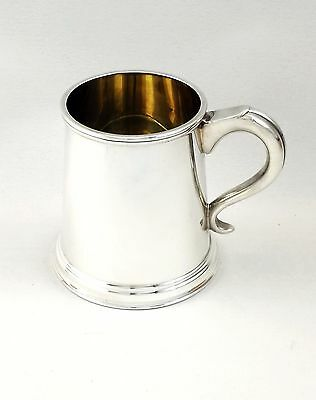 Solid Sterling Silver Pint Tankard 1920 Vintage Georgian Style Sheffield