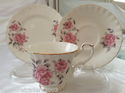 ♡ Lu Pao Taiwan Trio Gorgeous Delicate Soft Pink Roses Teacup Saucer Side Plate