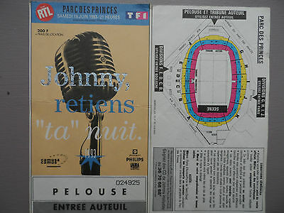 "3 Places spectacle JOHNNY,retiens ""ta"" nuit. Parc des Princes du 19 juin 1993"