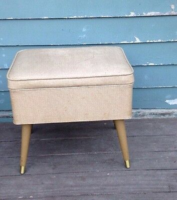 Mid-Century Modern Vintage Sewing Padded Bench - Heavy & Sturdy!